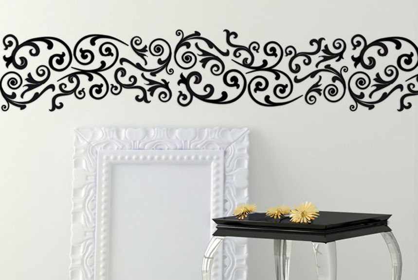 Pochoir arabesque frise pochoirs peintures for Pochoir cuisine