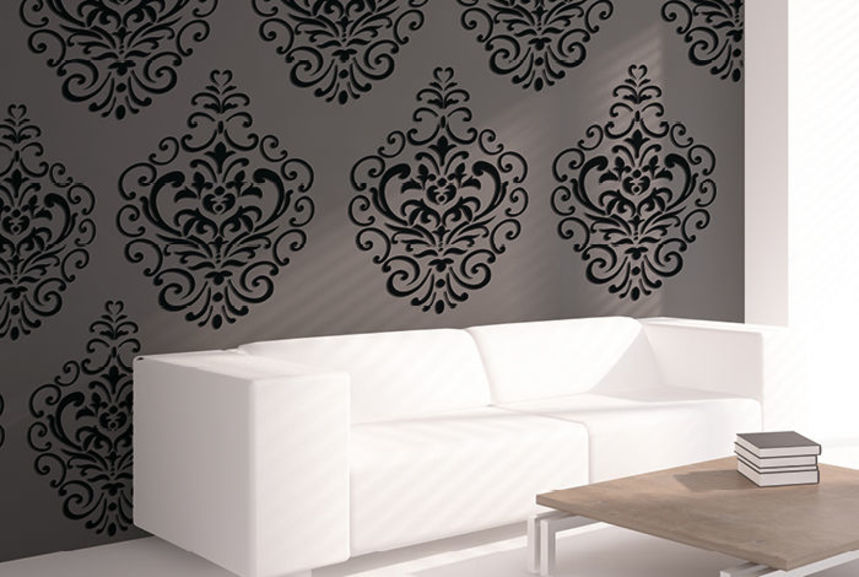 Pochoir damas l pochoirs peintures - Pochoir peinture meuble ...