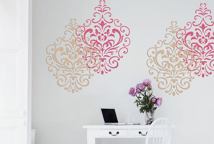 pochoir damas l pochoirs peintures. Black Bedroom Furniture Sets. Home Design Ideas