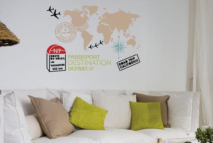 pochoir voyage l pochoirs peintures. Black Bedroom Furniture Sets. Home Design Ideas