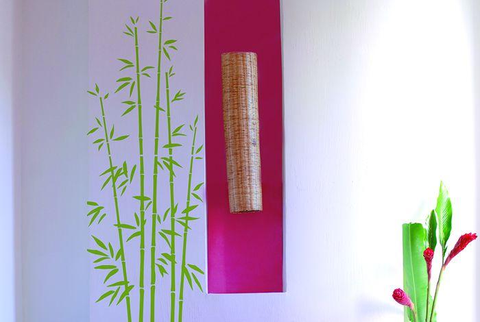 Pochoir bambou xl pochoirs peintures for Peinture vert anis